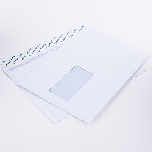 Briefumschläge DIN C5 162 x 229 mm weiß 80g/m² mit Fenster haftklebend (1449E) (100)