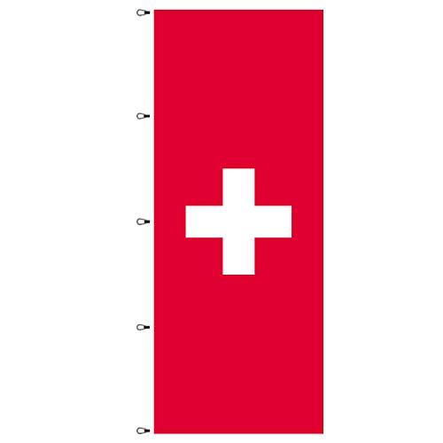 BGFint Schweiz Flagge 120x300 cm Fahne Switzerland Nationalflagge Nationalfahne Stoff 110g / qm für Fahnenmasten mit Ausleger