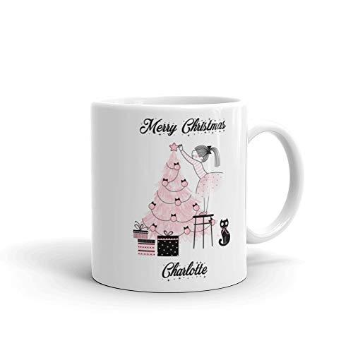Taza de Navidad personalizada para árbol de Navidad con diseño de árbol de Navidad (blanco, árbol rosado)