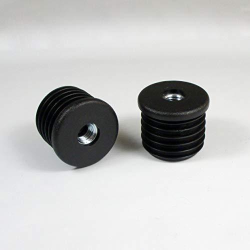 ajile Kunststoff Gewindestopfen SCHWARZ für Rundrohr 35 mm Durchmesser mit 10 mm (M10) Durchmesser Metallgewinde - 4 Stck. - ERM135x4-FBA