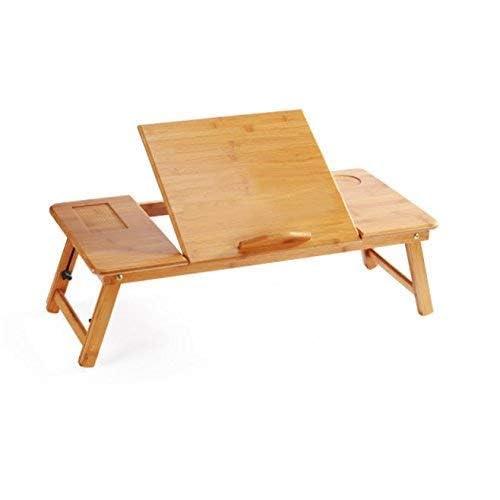 EVST Portable en bambou pliable pour ordinateur portable Bureau ordinateur portable Hauteur réglable Plateau de table Table de lit avec tiroir (70cm*35cm*30cm without Ventilation Slots)