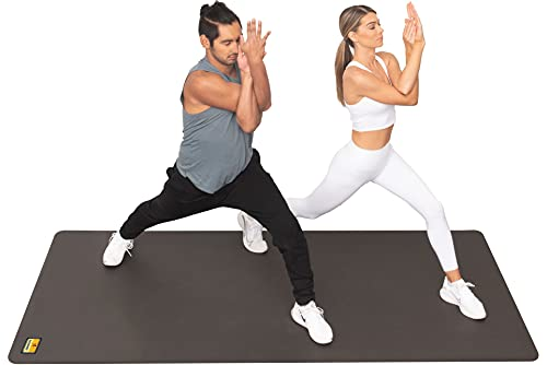 """Pogamat Large Exercise Mat & Thick Yoga Mat 8' x 4' - 1/4"""" (7mm) Thick High Density Workout Mat, Anti Tear Cardio Mat for Home Gym - Extra Long Fitness Mat Can Be Used with Or Without Workout Shoes"""