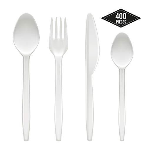 matana 400 Weiß Plastikbesteck Set, Stabiles Einwegbesteck Kunststoff| 100 Löffel, 100 Gabeln, 100 Messer, 100 Teelöffel| Groß für Partys, Geburtstage| BPA Frei.