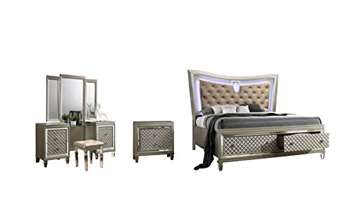 Best Quality Furniture VENETIAN 4PC (Queen Bed, Vanity Set and Nightstand), Champagne -  VEN-QV3-N