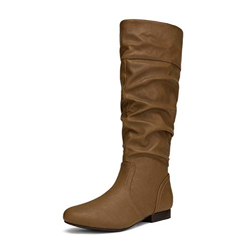 DREAM PAIRS Women's BLVD Camel Knee High Pull On Fall Weather Boots Size 9 M US