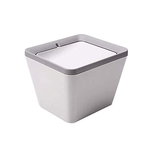 SMEJS Basura con tapa abatible, pequeña papelera, contenedor de basura con asas para baño, cocina, oficina en casa