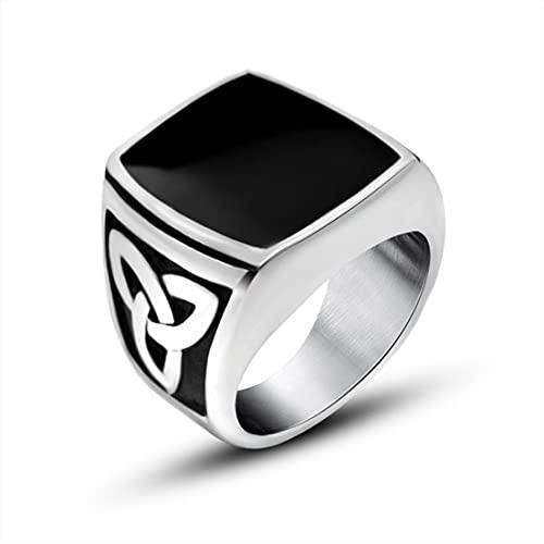 BiaBai Anillo de dedos grandes de epoxi vintage para hombre Anillo de tendencia de acero de titanio Anillo de acero de titanio Anillo creativo