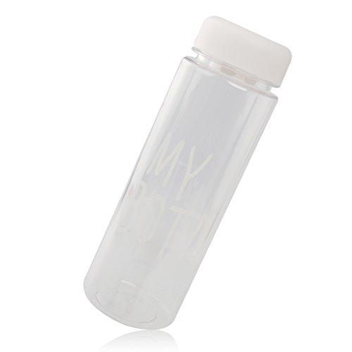Bouteille réutilisable en plastique, parfaite pour contenir de l'eau, lait, jus, 500 ml, - bianco