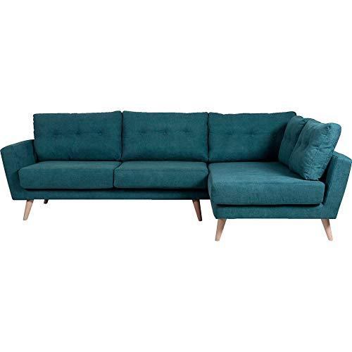 Meubletmoi Moss 4305 - Sofá esquinero recto de tela verde y azul cómodo - Diseño escandinavo
