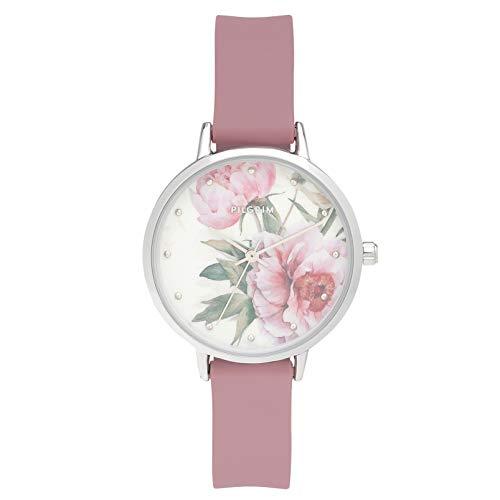 PILGRIM Uhr Clear-PI, Silikon, versilbert/Rosa, Ø33mm