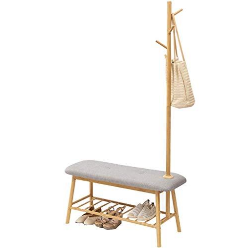 CENPEN Taburete de zapatos y perchero de diseño de suelo de bambú de la familia de entrada pasillo de zapatos banco pasillo de madera zapatero estante multifuncional de almacenamiento rack
