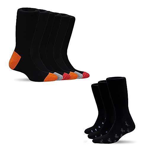 Zefer Blatt Mens Socks – 6+3 Pair With Free With Free Women Socks Bundle Soft Rich Cotton Socks Black with Multicolored Reinforced Cushion Heels & Toes - Smart & Breathable Walking Socks -Size UK 6-11