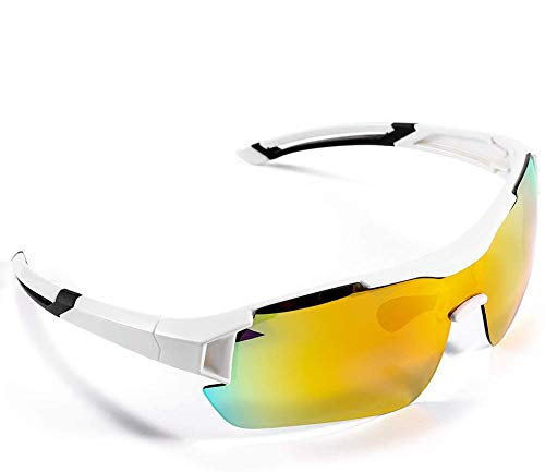 Gafas de Sol Deportivas,CrazyFire UV 400 Protección Gafas Deportivas Polarizadas con 5 Set De Lentes Intercambiables para Hombre Mujer