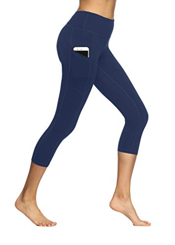 Fengbay Capri Leggings for Women,Yoga Capris with Pockets Yoga PantsWorkout Pantsfor Women Navy Blue