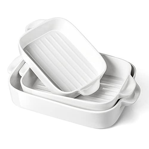 MALACASA serie Bake.Bake Juego de 3 Moldes de Porcelana para Hornear, Fuente para Horno Bandejas Rectángulo Color Crema