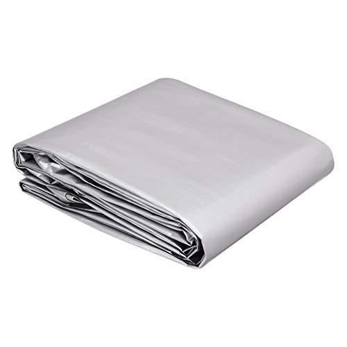 AmazonCommercial - Telo impermeabile multiuso in poliestere 3,6 x 6 metri, 0,4 mm di spessore, colore argento/nero, confezione da 1