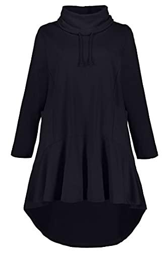 Ulla Popken Damen Long-Sweater Sweatshirt, Blau (Marine 72741870), 54-56