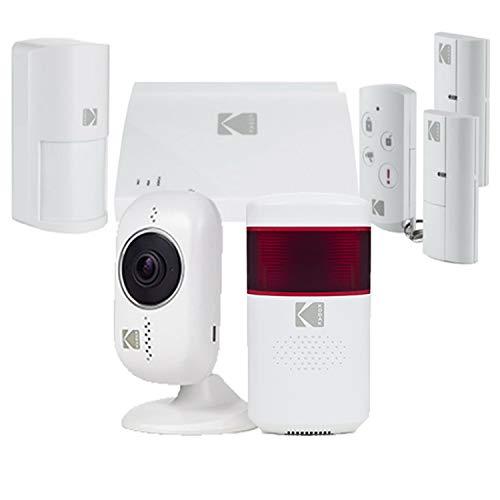 KODAK PROTECCIÓN+ Kit de Alarma de Seguridad con Sirena y 2x Cámaras de Vigilancia Full HD 1080P - Kit de Alarma Hogar con Batería Integrada y 5 Accesorios