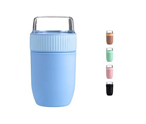 Coninx Müslibecher to Go - Lunchbox - Frühstücksbox - Joghurtbecher to Go - Müslibecher BPA-Frei - Geeignet für Spülmaschine - Praktischer Müslibecher für Kinder und Erwachsene - 640 ml Inhalt (Blau)