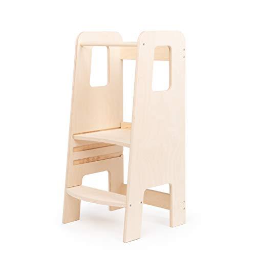 ully by moblì® | la prima Learning Tower in legno naturale | Realizzata in Italia secondo i principi Montessori | Progettata da esperti educatori | Torre di apprendimento con ripiani regolabili