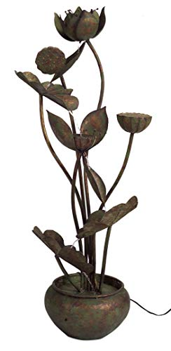"""Melrose 48"""" Rustic Bronze Colored Indoor Cascading Flower and Leaf Water Fountain"""