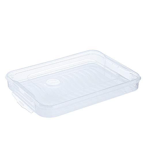 1 set van rechthoekige voedsel opslag Dumpling Box met deksel en plastic handvat, transparant, gemakkelijk te reinigen, perfect voor de meeste koelkasten, vriezers, kasten