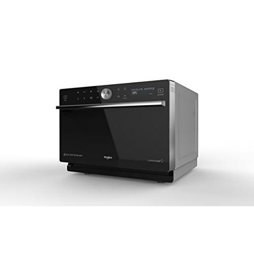 Whirlpool MWP 3391 SB Forno a Microonde Supreme Chef termoventilato combinato, 33 litri, Nero e Argento con griglia alta, griglia bassa, Double Steam, piatto Crisp + maniglia 37.3x49x54cm