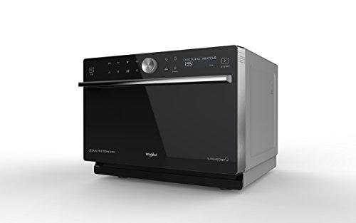 Whirlpool MWP3391SB Forno a Microonde Supreme Chef termoventilato combinato, Griglia alta, griglia bassa, Double Steam, piatto Crisp + maniglia, 33 litri, 1000W, Nero/Argento, 37.3x49x54 cm