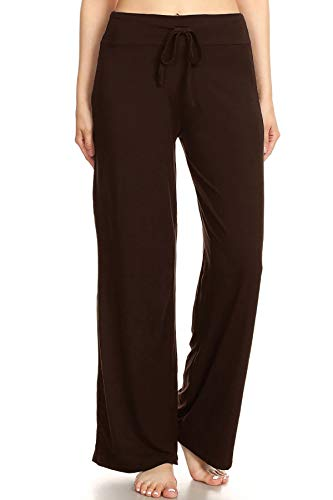 Leggings Depot PJ10SOLID-BROWN-XL Lounge Solid Pants, X-Large