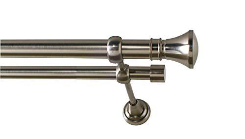 Sento 25/19mm Metall Gardinenstange Vorhangstange 2-läufig Edelstahl Optik Classic PRYMA 240 cm