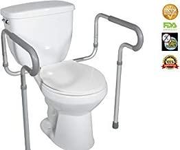 HEALTHLINE Adjustable Toilet Safety Frame Rails, Bathroom Grab Bar Toilet Frame Safety Rails with Padded Handrails, Toilet Support Rails for Seniors, Disabled, Elderly, Bariatric Toilet Rails 300 Lbs