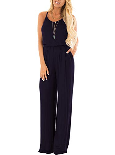 Women Summer Casual Loose Spaghetti Strap Sleeveless Open Back Wide Leg Long Pants Romper Jumpsuits Navy Blue Medium