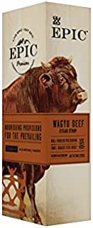 EPIC Wagyu Beef Steak Strips, Grass-Fed, 10 Count Box 0.8oz strips