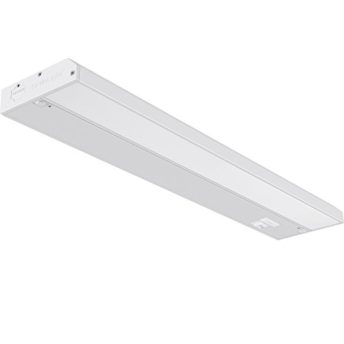 GetInLight 3 Color Levels Dimmable LED Under Cabinet Lighting with ETL Listed, Warm White (2700K), Soft White (3000K), Bright White (4000K), White Finished, 18-inch, IN-0210-2
