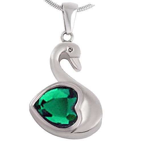 TNBKDSE Colgante de Cisne de Diamantes de imitación de Cristal Verde para Mujer, joyería de Acero Inoxidable Collar DE CREMACIÓN para Cenizas