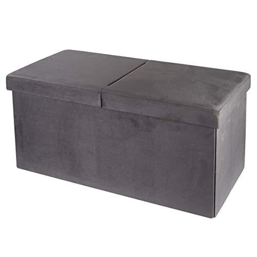 pouf contenitore velluto grigio Baroni Home Cassapanca Pieghevole