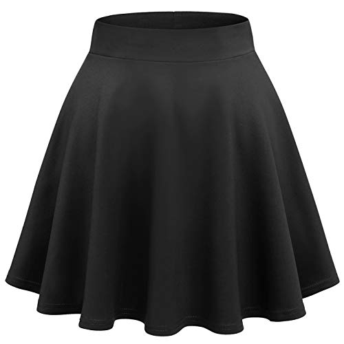 Wedtrend Women's Basic Versatile Stretchy A-line Flared Casual Mini Skater Skirt WTC10021SolidBlackS