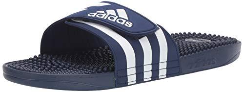 adidas Adissage Mule, FTWR White/Dark Blue, 18 Standard US Width US