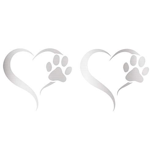 Finest Folia 2er Set Aufkleber Pfote und Herz 10x11cm Hund Katze Sticker für Auto Motorrad Wand Laptop Möbel Pfotensticker Hundepfote selbstklebend (K017 Silber)