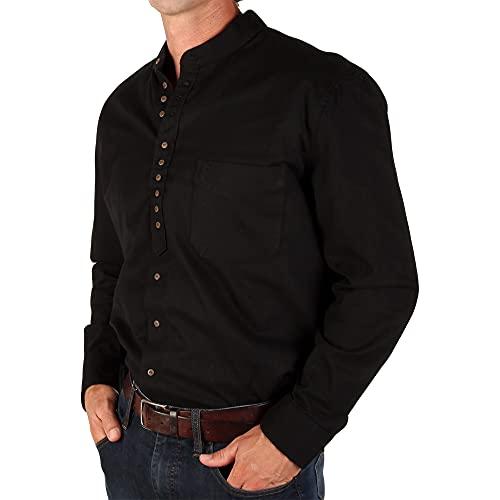 The Celtic Ranch Traditional Irish Grandfather, Men's Long-Sleeve Collarless Shirt, Black Meteorite (Large)