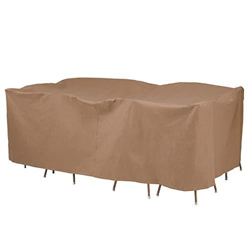 Duck Covers Essential Table rectangulaire Ovale avec Housse de chaises 96L x 64W x 32H US Latte