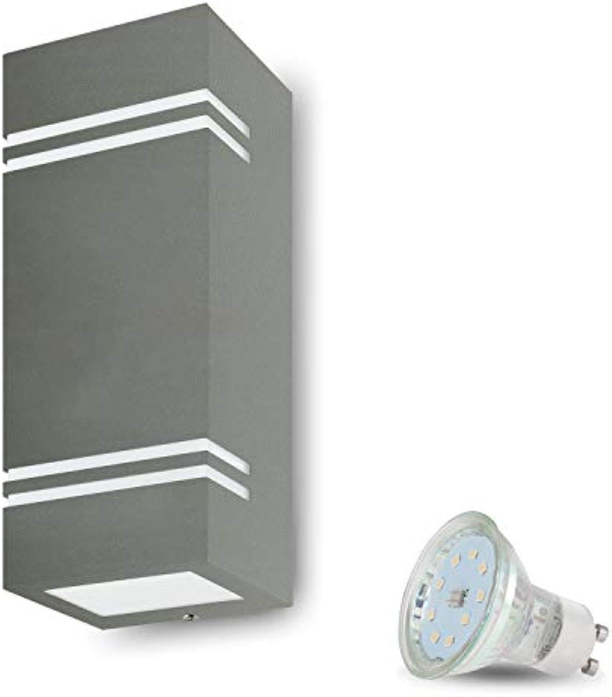 LED Wandleuchte Aussen VENEZIA 7 (Eckig, Grau) inkl. 2x LED 4W Kaltweiss, GU10 230V, IP44,Wandlampe,Auenwandleuchte,Wand-Auenlampe,Eingangsleuchte,Wandbeleuchtung,Gartenfassung aus Aluminium Glas