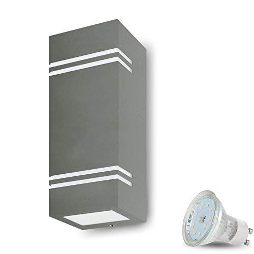 LED Wandleuchte Aussen VENEZIA 7 (Eckig, Grau) inkl. 2x LED 4W Warmweiss, GU10/230V, IP44,Wandlampe,Außenwandleuchte,Wand-Außenlampe,Eingangsleuchte,Wandbeleuchtung,Gartenfassung