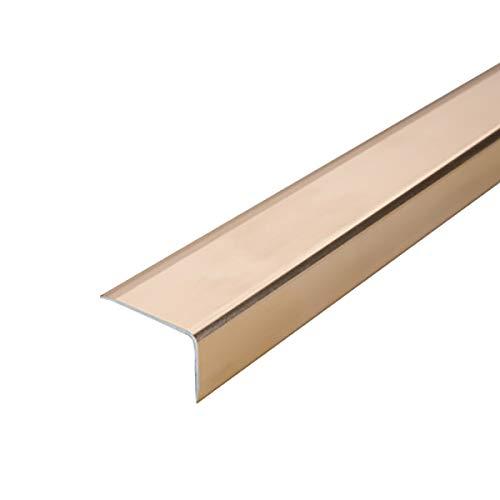 Cierre de Escaleras 0.9M Longitud L Forma L de Aluminio Stair Anti resbalón Rose 35x20mm ángulo Escalera de Borde Perfiles 3 PCS Exterior e Interior (Color : Gold, Size : 3.5x2x90cm)