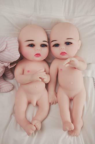 15 Zoll Realistische Reborn Babypuppe, Jungen und Mädchen Zwillinge Ganzkörper Silikon Neugeborenen Bathe Partner Spielzeug Geschenk, 2,2 kg