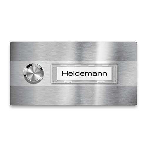 Metzler Türklingel - Klingel-Schild aus Edelstahl - Namensschild austauschbar (Namensschild)