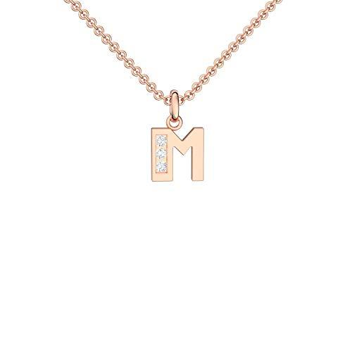 Buchstabenkette M Rosegold hochwertig vergoldet! Buchstabenanhänger M Zirkonia - inkl. Luxusetui + - Buchstabe M Kette Buchstabe M Buchstabenanhänger Buchstaben FF40 VGRSZIFA45