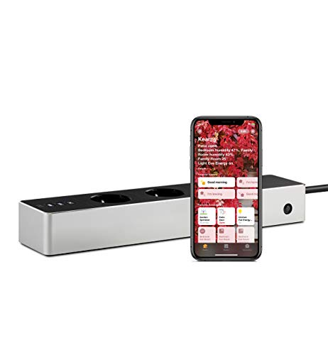 Eve Energy Strip - Regleta triple inteligente con contador eléctrico y tecnología Apple HomeKit