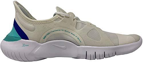 Nike Women's Free RN 5.0 Running Shoe, Sail/Aurora Green-Racer Blue, 8