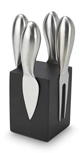 DasBesondereGeschenk - Novo Bloc, ceppo in legno verniciato con 4 coltelli da formaggio opachi e calamitati, in acciaio INOX spazzolato, colore: nero